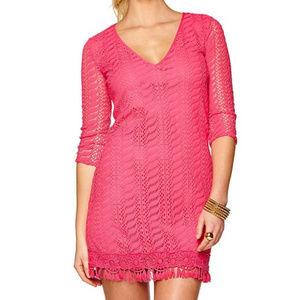 Lilly Pulitzer SEMINOLE Dress ZEBRA LACE Hot Pink